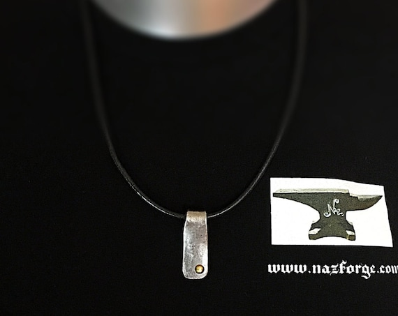 BLACKSMITH TEXTURED PENDANT with Leather Cord Necklace - Hand Forged and Signed by Naz - One of a Kind - Old Style Brass Rivet