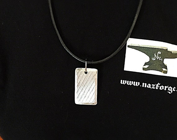 TEXTURED Aluminium Pendant - One of a Kind Original by Naz - Leather Necklace - Unisex Gift Idea