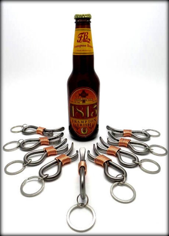 9 Keychain Bottle Openers Groomsmen Gift Set - Personalized Option Available - Hand Forged by Naz - Gifts for Groomsmen Ushers Gift Men