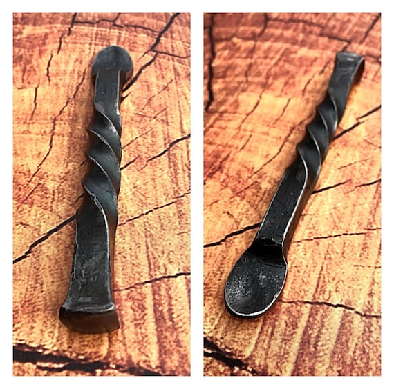 PIPE TAMPER with Scoop / Scraper - Hand Forged by Blacksmith Naz -  Metal Pipe Tool - Naz Forge - Smoking Accessories - Smoker Tools