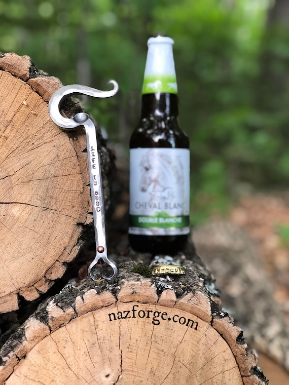 FORGED HEART Bottle Opener (with Rivet) for Him or Her ,  Personalized Option Available - 6th Year Iron  Anniversary Gift Idea Forged by Naz