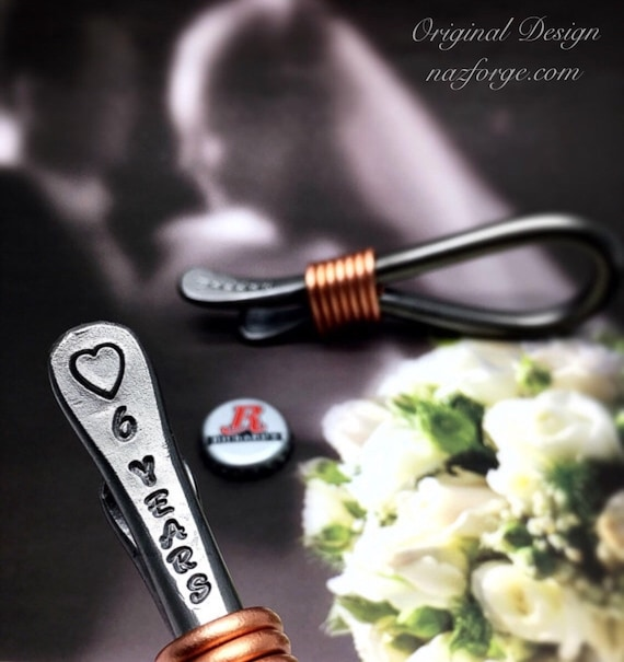 6th Year Iron Wedding Anniversary Gift Bottle Opener for Husband or Couple - 6 Years & Heart - Him - 6 Sixth Wedding Theme - Metal Steel Naz