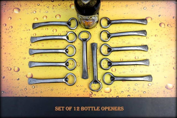 Corporate Gift Set for Men - 12 Bottle Openers- Personalized Option Available - Hand Forged Gifts, Gift Idea for Company Coworkers Employees