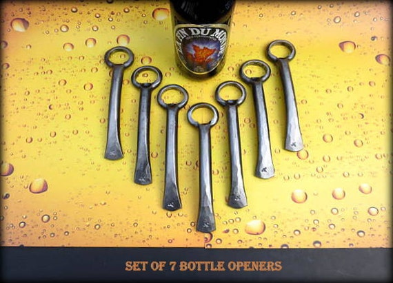 7 GROOMSMEN GIFTS Bottle Openers - Personalized Option Available - Hand Forged by Naz - Gifts for Groomsmen Ushers  Engagement  Gift  Men