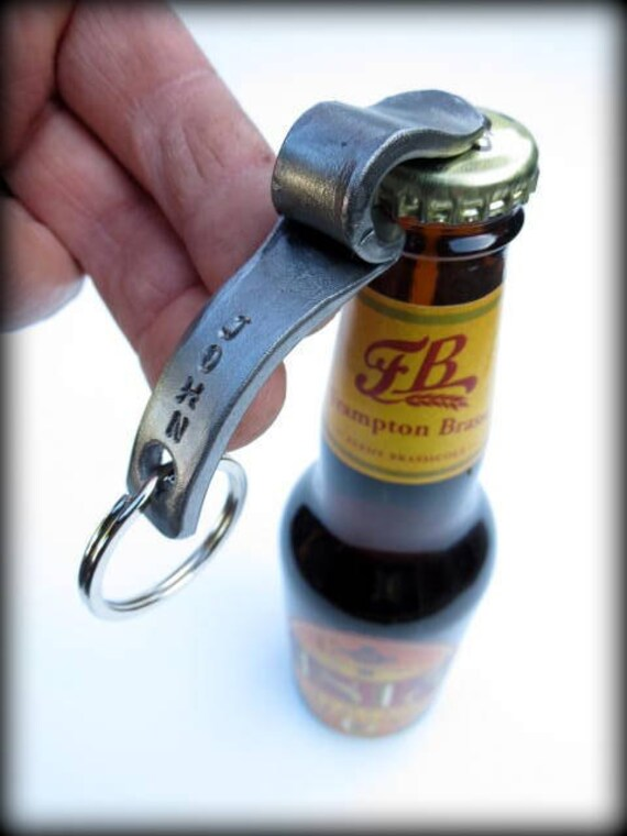 KEYCHAIN BOTTLE OPENER Forged  Signed by Blacksmith Naz-Personalized Option Available - Gift-Groomsmen - Usher-Man - Gifts - Men - Gift