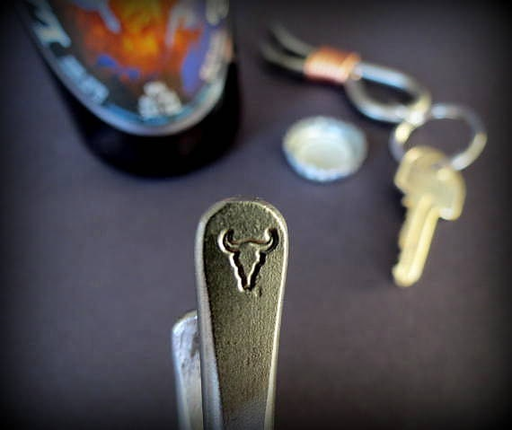 TEXAS LONGHORN KEYCHAIN Bottle Opener -  Personalization Option Available - Hand Forged and Signed by Blacksmith Naz - Texas Longhorn -