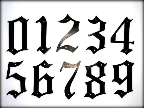 METAL HOUSE NUMBERS , Old English Style - 2 Sizes Available 5 inch or 8 inch High - Street Numbers - Outside Home Decor Font Adress Numbers