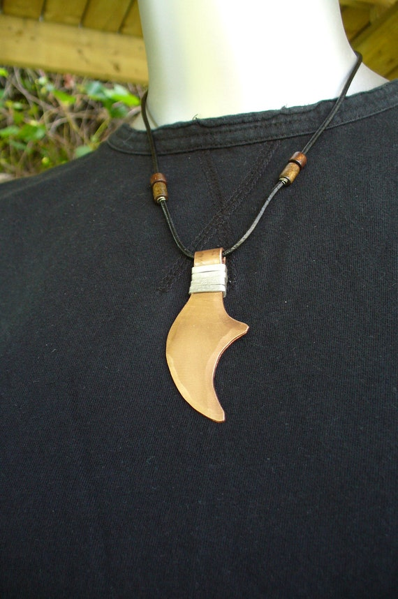 THE CLAW PENDANT - Original and Unique - One of a Kind - 7th Year Wedding Anniversary Gift - Copper and Alluminium - Leather Necklace