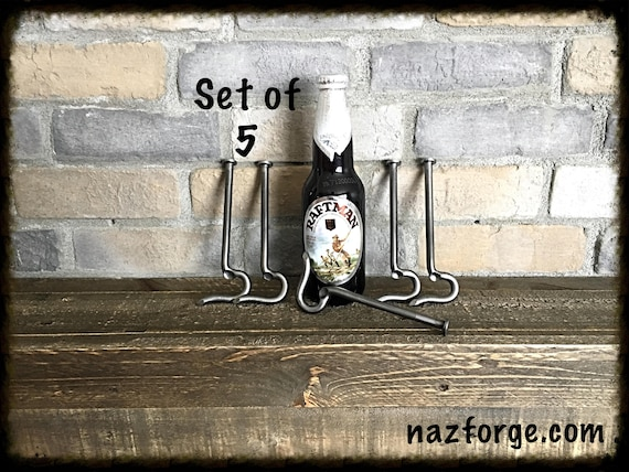 GROOMSMEN GIFT Set of 5 Bottle Openers made from a Large Nail- Personalized Option Available - Forged by Naz - Unique Cool Best Gifts Men