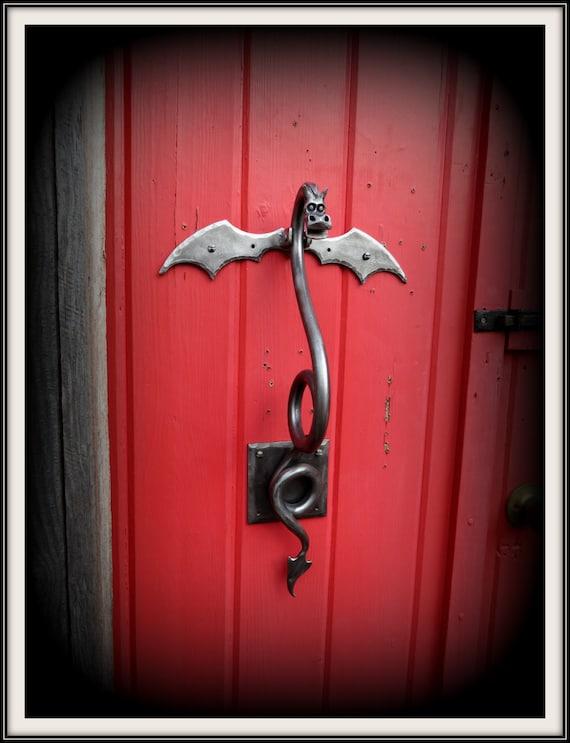 DRAGON DOOR KNOCKER (Large) Sculpture Hand Forged and Signed by Blacksmith  Naz - Original Design - Functional Art - Metal Dragon - Dragons
