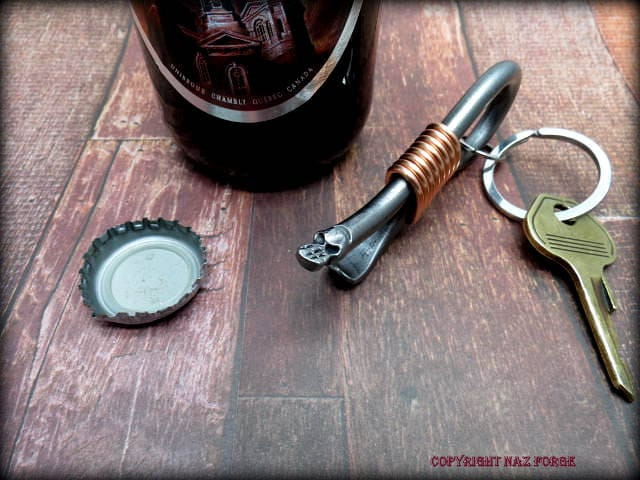 Mini Skull Keychain Bottle Opener Hand Forged And Signed By