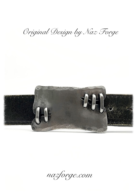 BELT BUCKLE Stitched by Blacksmith -  Hand Forged and Signed by Naz - Steampunk Distressed Custom Buckle - Original - Unique - Wearable art