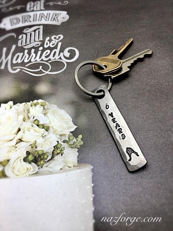 Paire Porte-clés Cuivre 7th Anniversaire De Mariage Cadeau Pour Lui Homme Son Personnalisé