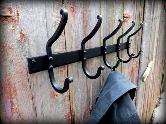Reserved Listing for Leslie - FORGED COAT RACK - 30 inch,6 Hooks that come off the wall at 3 inches - Black Powder Coat Finish