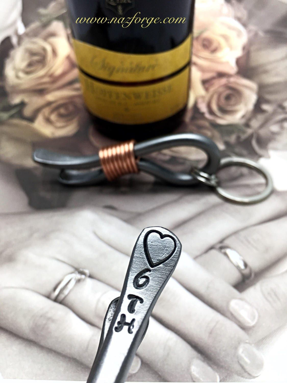 6th Year Wedding Gift Iron Anniversary Keychain Bottle Opener