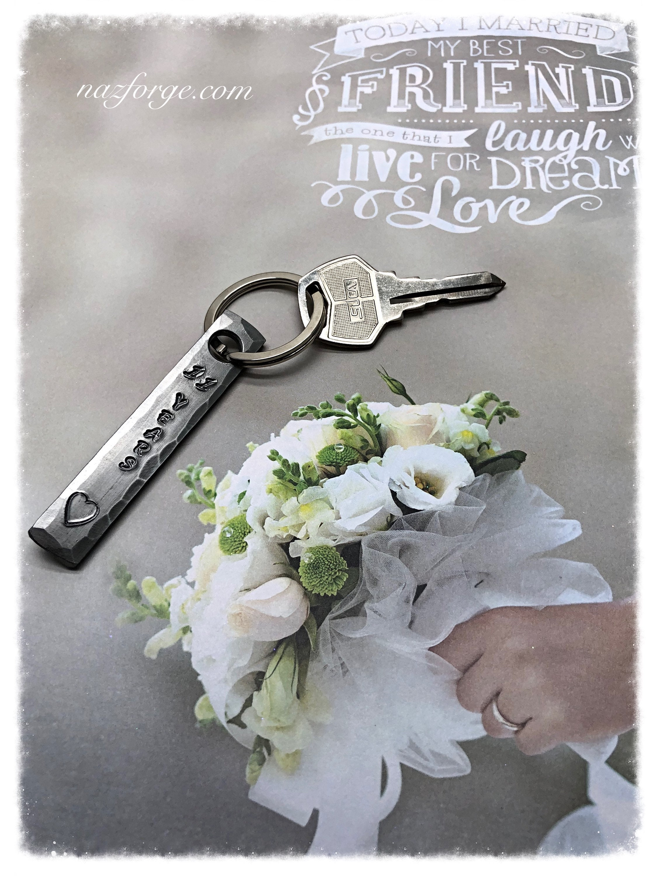 11th Year Steel Wedding Anniversary Keychain Gift for Wife ...