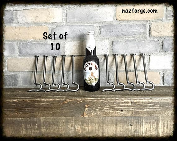 GROOMSMEN GIFT Set of 10 Bottle Openers made from a Large Nail- Personalized Option Available - Forged by Naz - Unique Cool Best Gifts Men