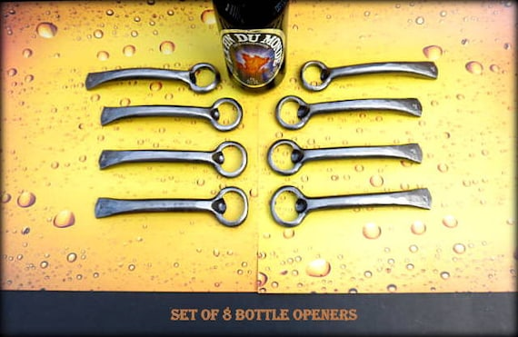 8 GROOMSMEN GIFTS Bottle Openers - Personalized Option Available - Hand Forged by Naz - Gifts for Groomsmen Ushers  Engagement  Gift  Men