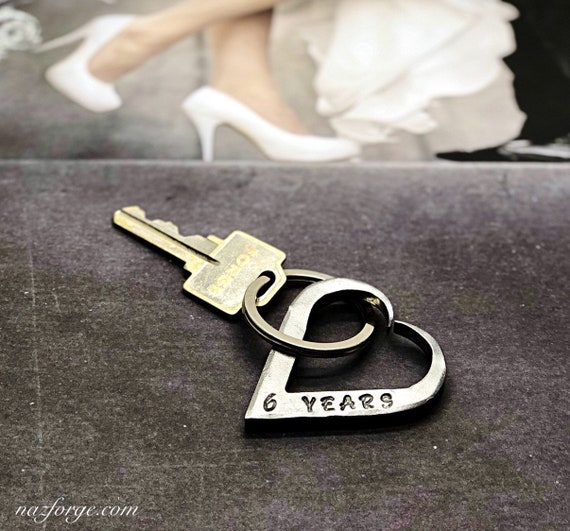 6th Wedding Anniversary Iron Keychain Gift Idea for Wife or Husband - Hand Forged Heart - Wedding Themes Sixth Hand Made for Him or Her