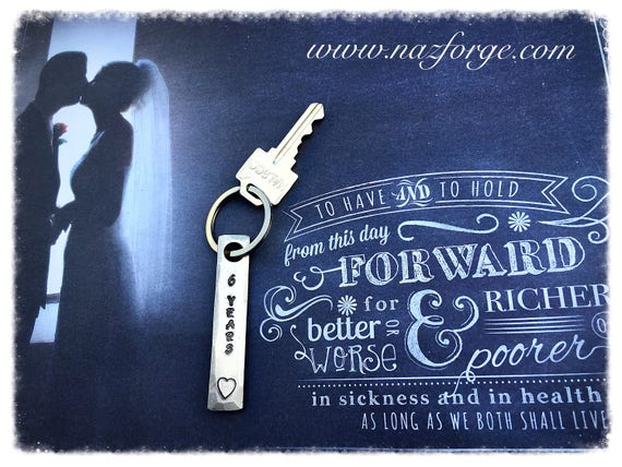 6th Year Iron Wedding Anniversary Keychain Gift Idea for Wife or Husband - 6 Years & Heart - Wedding Themes Sixth Hand Made for Him or Her