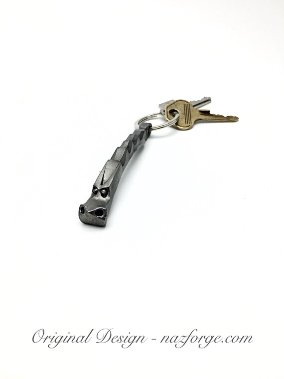 DRAGON KEYCHAIN Hand Forged and signed by BLACKSMITH Naz - Personalization Option Available