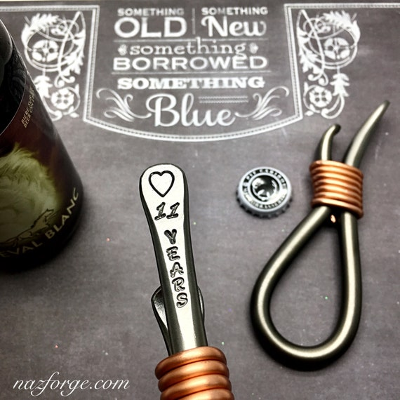 11th Year Steel Wedding Anniversary Gift Bottle Opener for Husband or Couple - 11 Years - Him - Eleventh Wedding Theme - Metal Naz Forge