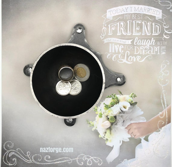 6th Wedding Anniversary Gift for Him or Her Iron Ring Dish Bowl, Rings & Change Storage Tray, Sixth Wedding Theme for Couple Husband or Wife