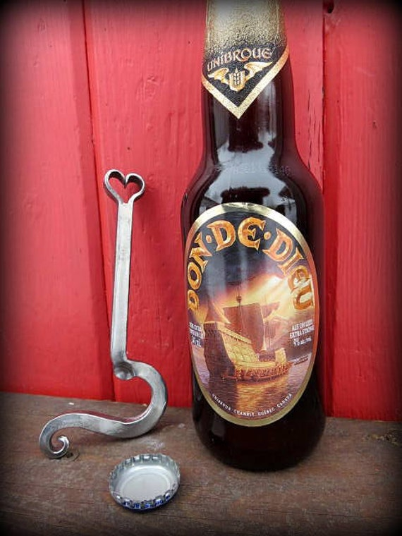 FORGED HEART Bottle Opener for Him or Her ,  Personalized Option Available - 6th Year Iron  Anniversary Gift Idea - Hand Forged by Naz