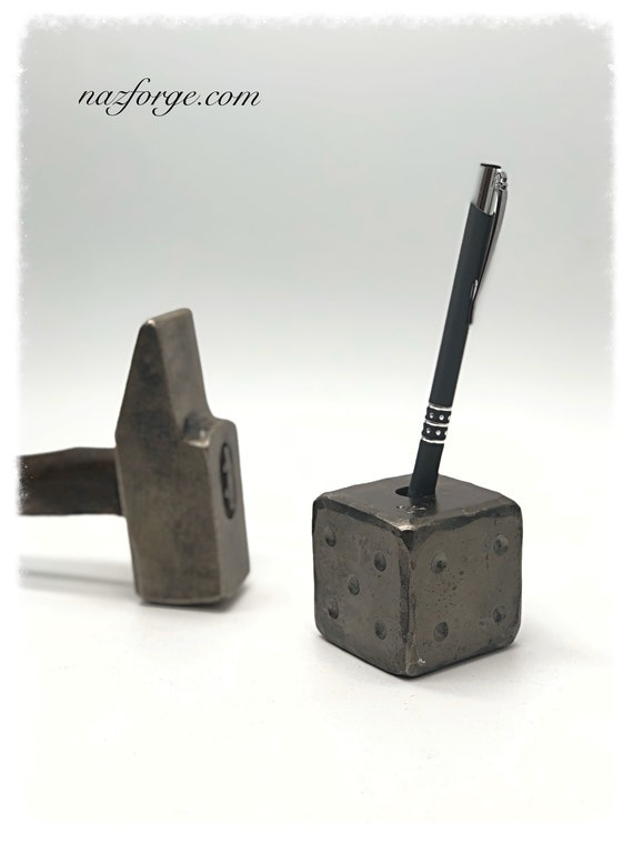 "PEN HOLDER 2"" Forged Solid Metal Die , Personalized or Traditional Dots , Forged by Blacksmith Naz - Huge & Heavy Each Die Weights 2 pounds"