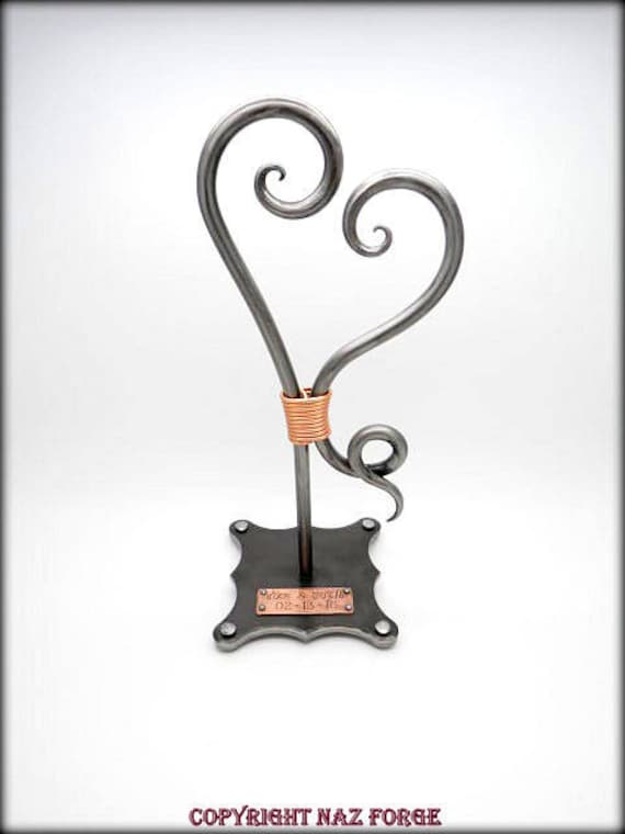 WEDDING ANNIVERSARY GIFT - 6th (Iron) or 11th (Steel) Wedding Themes - Forged Heart Sculpture - Forever - Hand Forged  - Personalized Option