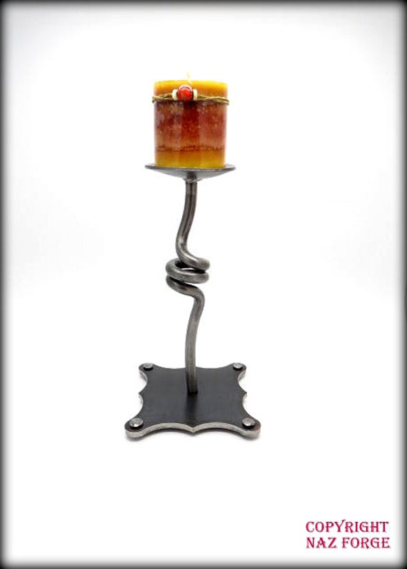 FORGED CANDLE HOLDER - Hand Forged by Blacksmith Naz - Table Top Decoration - Original Unique Gift - Wedding Gift - House Warming Gift