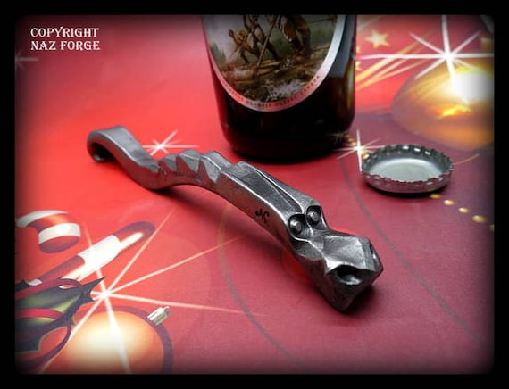 CHRISTMAS GIFT for HIM - - Bottle Opener - Man - Men - Personalized Option Available - Forged  by Blacksmith Naz - Boyfriend Gift - Brother
