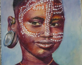 African Portraits, Surma girl, Ethiopua, giclees on paper, limited Edition, hand signed