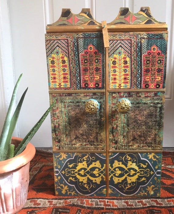 Cot In A Box Morocco Turquoise: Moroccan Inspired Cabinet Jewelry Boxkeepsake Box Wedding