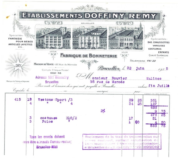 Antique Vintage Illustrated Billhead Invoice French Belgian Etsy