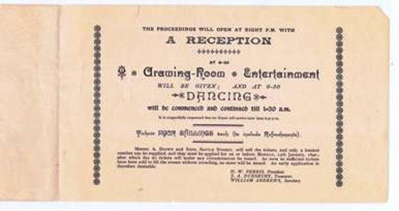 Paper Ephemera 19th century Antique Announcement Invitation to a Conversazione Reception Dance 1890 Hull Literary Club UK Decorative
