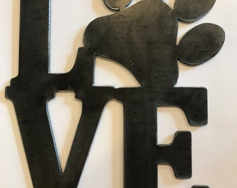 Metal Cutout Metal Wall Decor Paw Love Home Decor Living Room Decor Sign Wall Hangings Metal Signs Personalized Signs Rustic chic Farmhouse