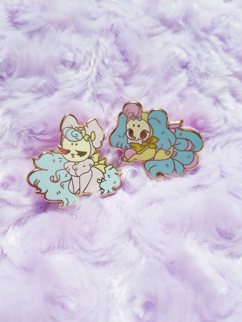 PB companion enamel pins Puppy and Kitty