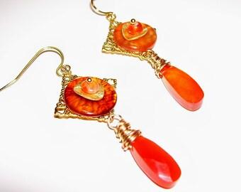 Original OOAK glass disc Carnelian and gold earrings