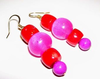 Red coral and pink resin earrings