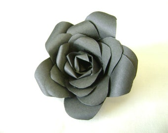 Bible paper flower rose pin made with vintage bible pages etsy paper rose pin in black paper flower brooch or boutonniere black flower mightylinksfo