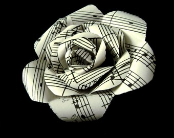 Paper flower pins etsy sheet music paper rose pin boutonniere buttonhole lapel pin brooch mightylinksfo