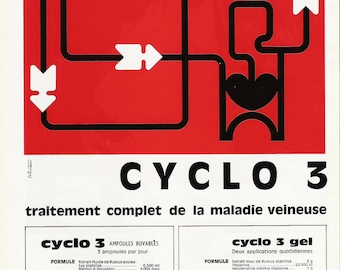 Mod 1968 French Advertisement Medicine for Vascular Health -  Vintage French Québec Medical Journal Ad - Minimalist Red Graphics Geometric