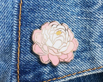Peony Pin, Hard Enamel Pin, Jewelry, Art, Flower, Gift (PIN86)