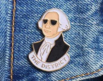 George Washington Pin, President, The District, Soft Enamel Pin, Jewelry, Art, Gift (PIN33)