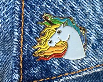 Unicorn Rainbow Pin, Soft Enamel Pin, Jewelry, Art, Gift (PIN3)