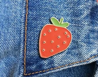 Strawberry Pin, Hard Enamel Pin, Jewelry, Gift, Art (PIN99)