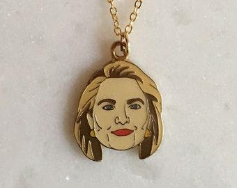 Hillary Enamel Pendant, Necklace, Hillary Clinton, Hillary 2016, President, Jewelry (Item PNDT5)
