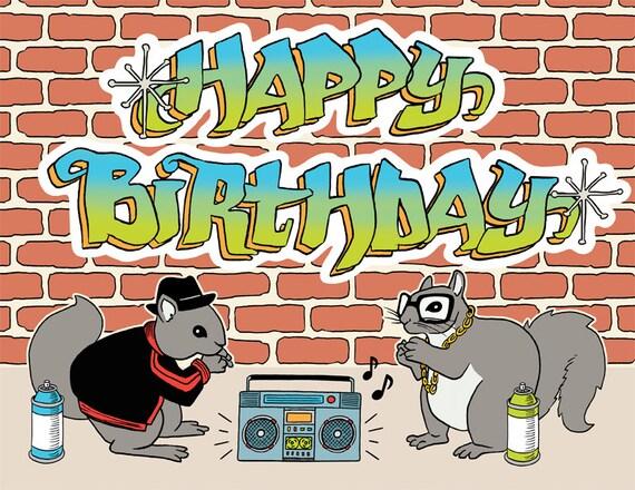 Hip Hop Squirrels Happy Birthday Greeting Card Boom Box Etsy