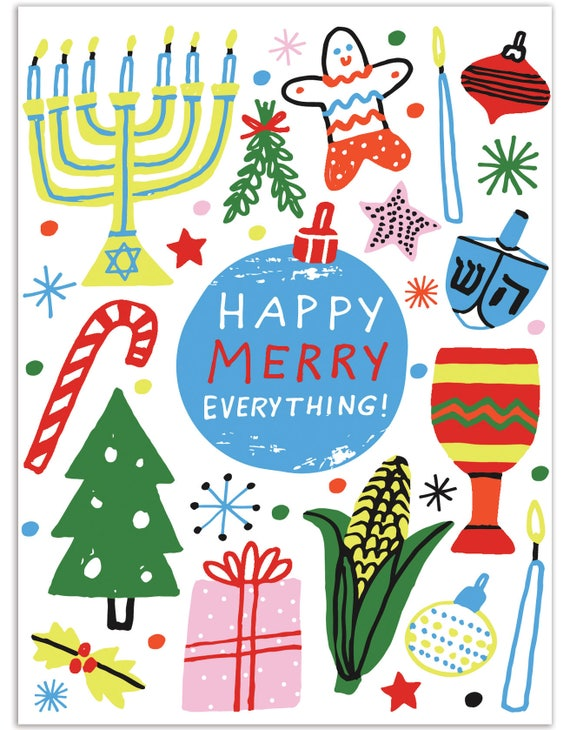 Happy merry everything card holiday card hanukkah kwanzaa etsy image 0 m4hsunfo